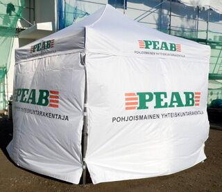 3x3 Pop up teltta logolla Peab