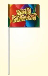 Paberist käsilipp 20x30cm neljavärvilise trükiga, plastikust varrega